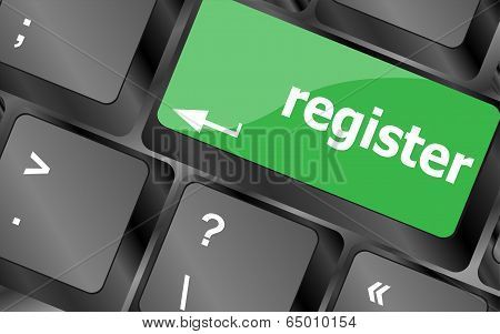 The Word Register On A Green Computer Keyboard Key To Illustrate E-commerce Or Signing Up Entering T