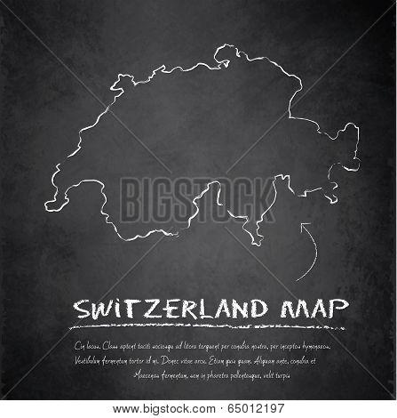 Switzerland map blackboard chalkboard vector