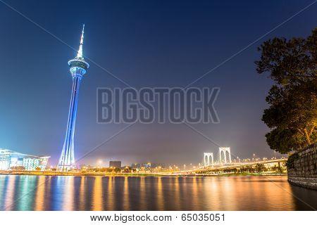MACAU, CHINA - APRIL 5, 2014  Stunning view of Macau at night  Macau tower, the famous landmark of M