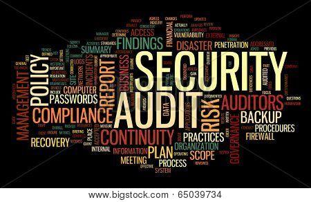 Security audit  in word tag cloud on black