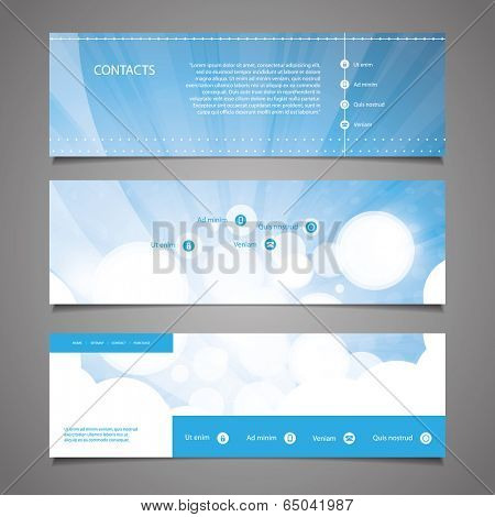 Web Design Elements - Blue and White Abstract Header Design with Circles