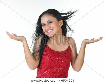 Modern young girl in a jolly mood