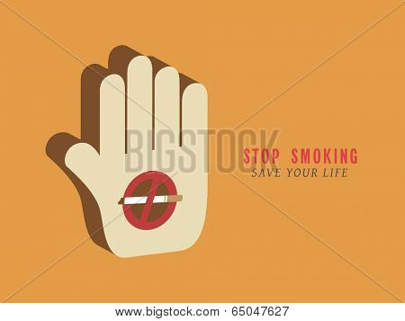 Poster, banner or flyer design for World No Tobacco Day with illustration anti smoking symbol on human hand on yellow background.