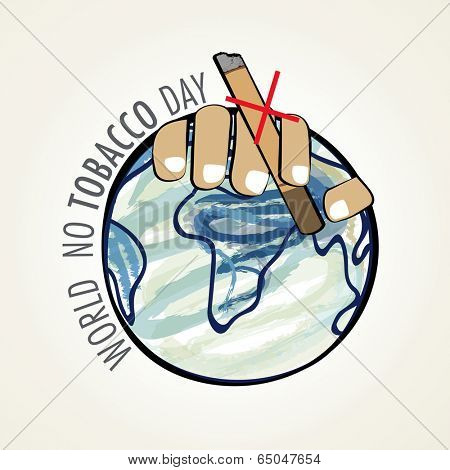 World No Tobacco Day poster, banner or flyer design with human hand holding cigarette on mother earth globe. No Smoking or Anti Smoking background.