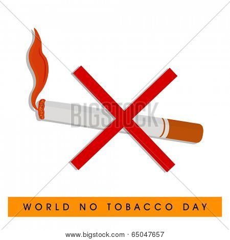 World No Tobacco Day poster, banner or flyer design with burring cigarette and cross sign on white background.