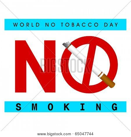 Poster, banner or flyer design for World No Tobacco Day with stylish text No Smoking and cigarette on white background.