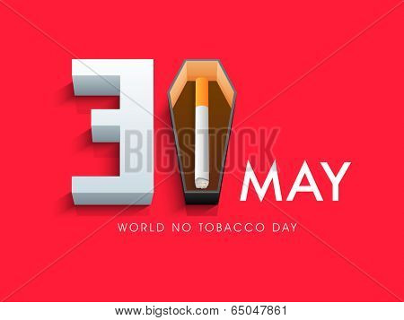 Poster, banner or flyer design for World No Tobacco Day with stylish text and cigarette on red background.