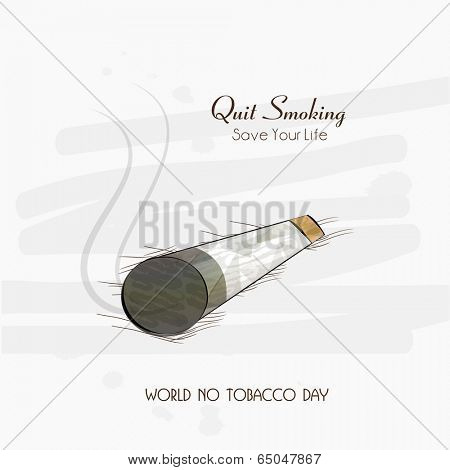 Burning cigarette and stylish text Quit Smoking on grey background for World No Tobacco Day concept, can be use as flyer, poster or banner design.