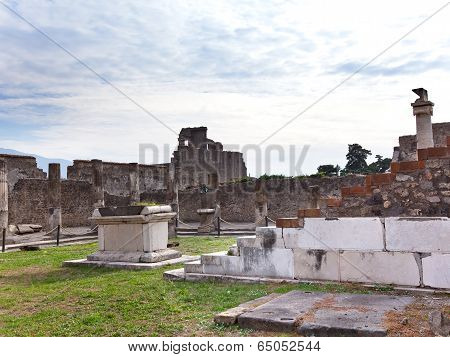 Italy. Ruins of Pompey.Cityscape in a sunny day