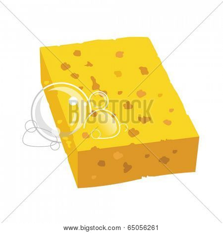 yellow sponge with bubbles vector illustration