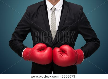 Businessman Standing Posture In Boxing Gloves Isolated