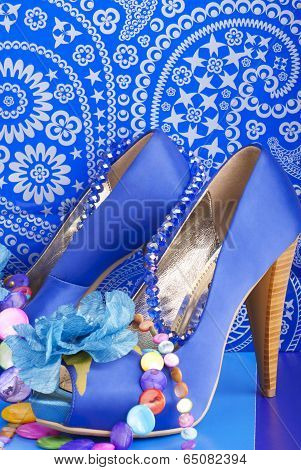 Blue Shoes With Necklace