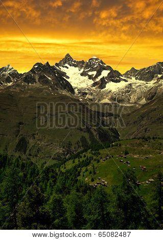 Ober Gabelhorn in the sunset - Swiss Alps