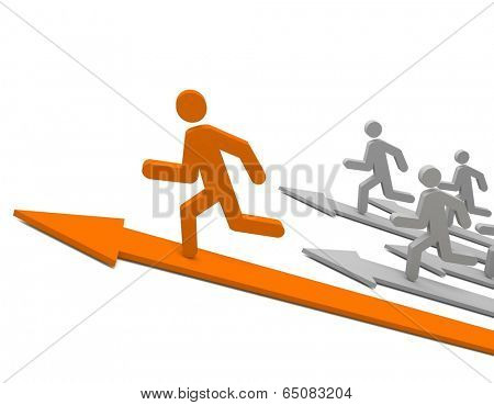 Aspiration to win of leader in competition. Concept. 3d illustration.