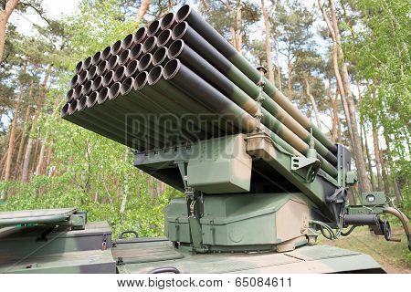 Close Up On Rocket Launcher Vehicle