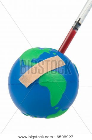 Globe with Plaster and getting an Injection