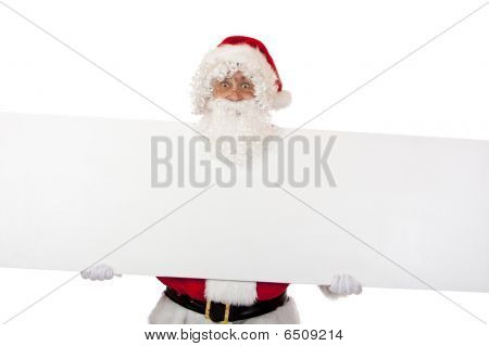 Happy Smiling Santa Claus Shows Christmas Special Offer Discount Board