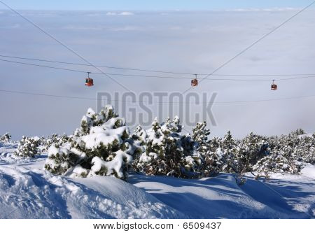 Cable Car Ski Lift Over Mountain Landscape