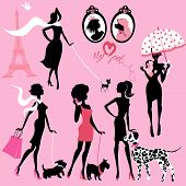 Set of black silhouettes of fashionable girls with their pets - dogs (Dalmatian terrier poodle chihuahua) on a pink background poster
