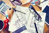 Designer's Desk with Architectural Tools and Blueprint poster