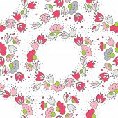 Messy different colorful pink gray flowers and hearts in round wreath on white background with little dots retro romantic botanical seamless pattern poster