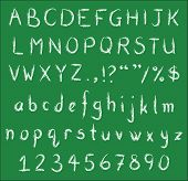 White chalk handwritten alphabets numbers and common punctuation on green black board. Vector Fonts. poster