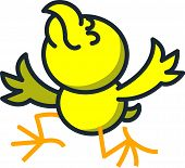 Cute yellow chicken kneeling, opening its wings and raising its head as for showing how thankful it is poster
