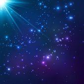 Magic blue cosmic shining light vector background poster