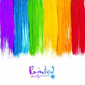 Acrylic rainbow colors painted stripes, vector background poster