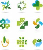 Natural Alternative Herbal Medicine and Healthcare icons and element set poster