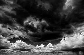 Apocaliptic stormy sky background poster