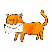 cartoon cat carrying letter poster