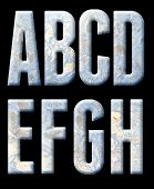 Frozen alphabet, numbers and punctuation. On a black background. poster