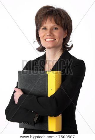 Beautiful Businesswoman Hugging Her Binder