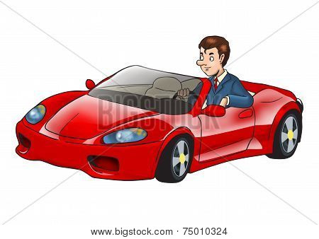 Businessman Driving a Sport Car