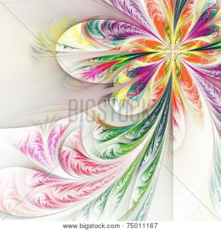 Diagonal symmetric multicolor fractal tracery. Collection - frosty pattern. On white. poster