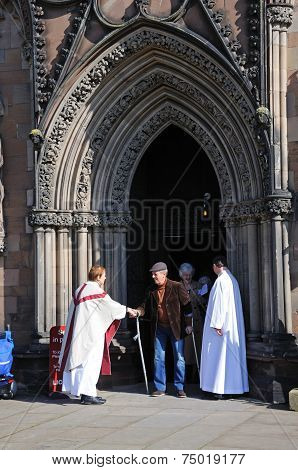 Greeting the congretation at Lichfield Cathedral.