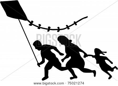 Running Immigrant Family Flying a Kite Sign