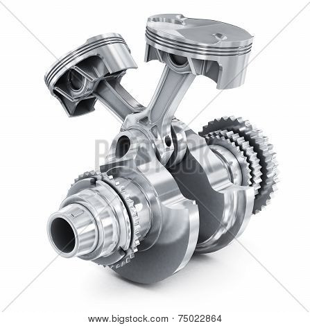 Engine pistons and cog. 3D image.  isolation on, white background poster