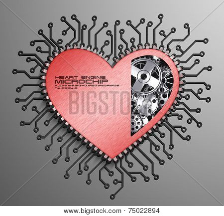 CPU. Gears inside heart processor. 3d isolation on, white background poster