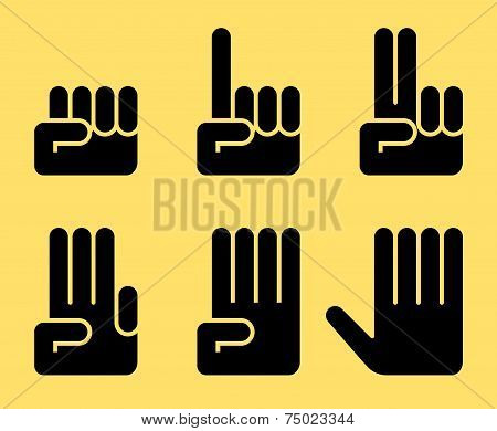 Numbers of 0 to 5 with hands
