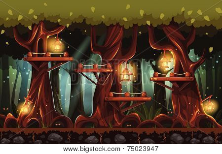 Illustration of the fairy forest at night with flashlights, fireflies and wooden bridges