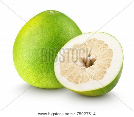 Pomelo Citrus Fruit With Cut Isolated On White