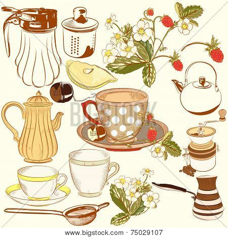 Collection Of Vector Hand Drawn Tea And Coffee Acessories For Design