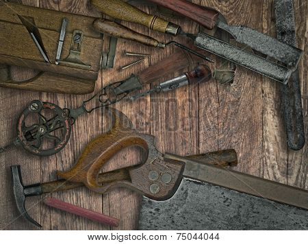 faded colors of a vintage woodworking tools on wooden bench, space for your text