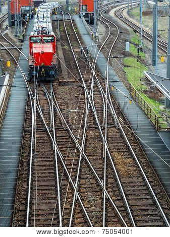 freight trains on shunting in vienna. transportation of cargoes by rail.