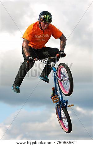 BMX Rider Executes Midair Stunt At State Fair
