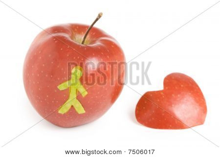 Red applle with heart
