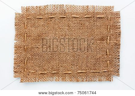 Frame Of Burlap, Lies On A Background Of Burlap  With Place For Your Text