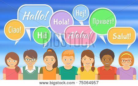 Language School with Happy Kids